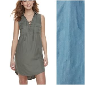 SO Chambray Blue Lace Up Collared Shirt Dress